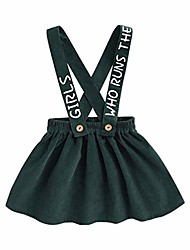 cheap -girls' autumn corduroy suspender skirt baby girls strap skirt deep green 3 years