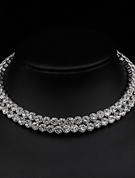 cheap -Women's Choker Necklace Necklace Tennis Chain Simple Classic Elegant Imitation Diamond Alloy Silver 30 cm Necklace Jewelry 1pc For Wedding Anniversary Party Evening Gift Engagement