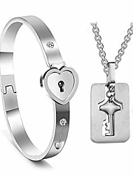 cheap -his and hers matching set, titanium key pendants necklace heart bangle bracelet prevent allergy&fade couples lock jewelry sets for valentines birthday gifts silver