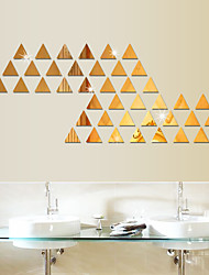 cheap -100pcs 3D Mirror Wall Stickers DIY Acrylic Triangl Mirror Sticker Decals Self-Adhesive Bedroom Wallpaper Decorative Home Decor