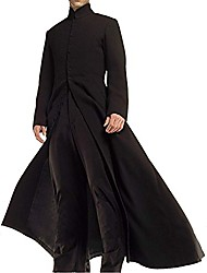 cheap -neo matrix keanu reeves black trench coat, black - cotton fabric, small