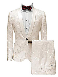 cheap -men's 2 pcs suit shawl lapel classic patterned wedding blazer separate pants(ivory,40r)