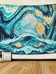 cheap -marble tapestry, blue gold ocean art tapestry natural luxury swirl marble tapestries liquid flow gouache tapestry for room