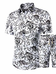 cheap -men suit casual slim stand collar printing button short sleeve set pant blouse white