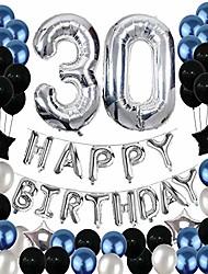cheap -30th birthday decorations,30 birthday balloons party supplies happy birthday banner latex balloons foil star balloons blue black (81pcs)