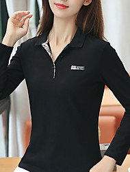 cheap -Women's Golf Polo Shirts Long Sleeve Breathable Quick Dry Soft Sports Outdoor Autumn / Fall Winter Spring Cotton Solid Color Black Fuchsia Pink Royal Blue Gray / Stretchy
