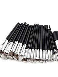 cheap -clearance deals 18pcs soft nylon hair wood handle powder concealer cosmetic makeup brush set - black handle + silver tube