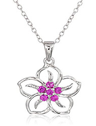cheap -sterling silver created ruby flower pendant necklace, 18""