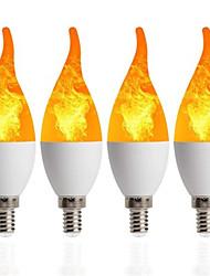 abordables -4 piezas 1 piezas lámpara de vela led e14 bombilla de llama 85-265 v bombillas de luz de fuego con efecto de llama led parpadeante emulación decoración lámpara led c35