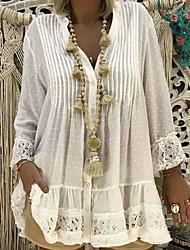 cheap -Women's A-Line Dress Short Mini Dress - 3/4 Length Sleeve Polka Dot Patchwork Spring Fall Casual Cotton 2020 White Blue Yellow Blushing Pink Khaki S M L XL XXL 3XL 4XL 5XL
