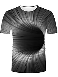 cheap -Men's T shirt 3D Print Graphic Optical Illusion Print Short Sleeve Daily Tops Basic Round Neck Black / White
