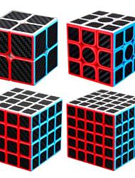 cheap -Speed Cube Set 4 pcs Magic Cube IQ Cube Carbon Fiber 2*2*2 3*3*3 4*4*4 Speedcubing Bundle 3D Puzzle Cube Stress Reliever Puzzle Cube Stickerless Smooth Office Desk Toys Pyramid Megaminx Skew Kid's