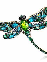 cheap -slovem crystal rhinestone dragonfly brooch pin jewelry birthday gifts (green-01)