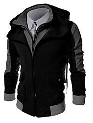 cheap -Men's Daily Hoodie Zip Up Hoodie Color Block Hooded Basic Hoodies Sweatshirts  Long Sleeve Black Light gray Dark Gray / Sports / Spring / Fall