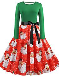 cheap -Women's Sheath Dress Knee Length Dress Long Sleeve Print Patchwork Winter Vintage Christmas 2021 Green S M L XL XXL 3XL 4XL 5XL