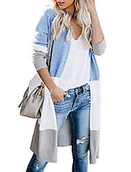 cheap -Women's Basic Splicing Cotton Sweater Cardigans Blue Orange khaki