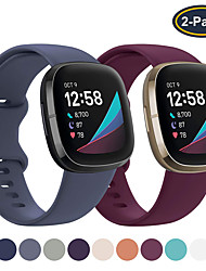 cheap -2 Pack Sport Silicone Watch Band for Fitbit Versa 3 / Sense Replaceable Bracelet Wrist Strap Wristband
