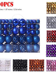 cheap -100pcs christmas ball plating ornaments set xmas tree shatterproof seasonal decorations with hanging hoop for holiday wedding party decoration (blue)