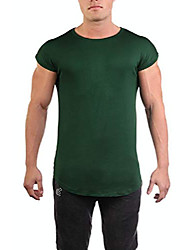 cheap -mens athletic gym workout casual capped sleeve slim-fitted t shirt- green, large