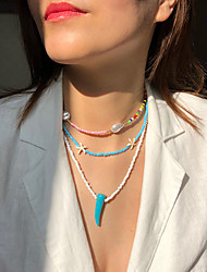 cheap -Women's Choker Necklace Pendant Necklace Handmade Friends Star Starfish Joy Lucky Unique Design Ethnic Colorful Fashion Imitation Pearl Glass Stone Blue 50 cm Necklace Jewelry 3pcs For Christmas