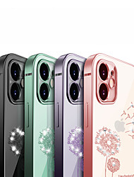 cheap -Phone Case For Apple Back Cover iPhone 12 Pro Max 11 SE 2020 X XR XS Max 8 7 Shockproof Plating Transparent Flower / Floral TPU