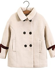 cheap -Kids Girls' Jacket & Coat Blushing Pink Beige Solid Colored Fur Trim Patchwork Bow Active Basic
