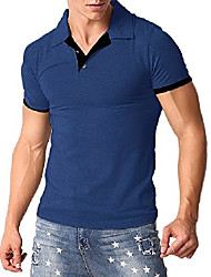 cheap -men's poloshirt short sleeve collar t shirts cotton tee button casual slim fit tops a-blue s
