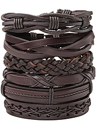 cheap -men's womens braided leather rope woven wrap link cuff bracelet, fit 7-8.5 inch wrist…
