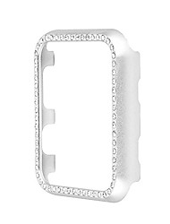 cheap -replacement for iwatch series 3/2/1 bumper case bling crystal rhinestone diamond aluminum frame cover (silver, 38 mm)