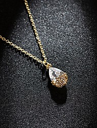 cheap -Women's Clear Crystal Pendant Necklace Chain Necklace Pear Cut Water Drop Necklace Drop Simple Classic Sweet Fashion Zircon Alloy Gold 38+7 cm Necklace Jewelry 1pc For Party Evening Gift Birthday