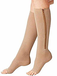 cheap -compression socks (2 pairs) new compression zip sox socks stretchy zipper leg support unisex open toe knee stockings (light beige, s/m)