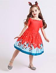 cheap -Santa Suit Dress Girls' Kid's Christmas Christmas Christmas Polyester Dress