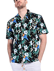 cheap -men's 100% cotton button down short sleeve hawaiian shirt black flamingo m