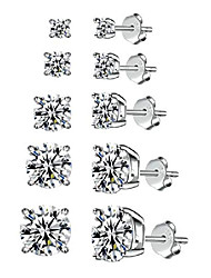 cheap -5 pairs 925 sterling silver stud earrings | cubic zirconia stud earrings | white gold plated hypoallergenic stud earrings for women girls (3mm, 4mm, 5mm, 6mm, 7mm)