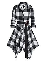 cheap -Women's Swing Dress Knee Length Dress - Long Sleeve Check Patchwork Fall Shirt Collar Casual 2020 Black Blue Red L XL XXL 3XL 4XL 5XL