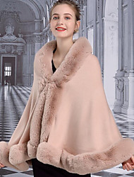 cheap -Long Sleeve Capes Faux Fur / Orlon Wedding / Party / Evening Shawl & Wrap / Women's Wrap With Split Joint / Solid