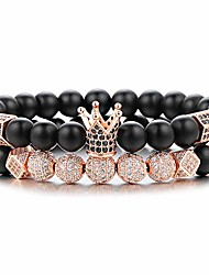 "cheap -8mm crown king charm beads bracelet for men women natural black matte onyx stone beads, 7.5"" gift for father's day"
