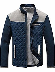 cheap -men's contrast stand collar button down quilted jacket (large, navy-grey)