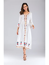 cheap -Women's Sheath Dress Midi Dress - Long Sleeve Floral Embroidered Fall Casual Flare Cuff Sleeve 2020 White Red Yellow Royal Blue Light Blue One-Size