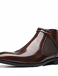 cheap -men's chelsea boots genuine leather ankle boots casual business chukka boots classic oxford shoes