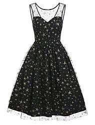 cheap -Women's A-Line Dress Knee Length Dress - Sleeveless Print Lace Mesh Patchwork Winter Vintage 2020 Black S M L XL XXL