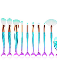 cheap -Cross-border hot sale 11 mermaid makeup brushes gradient color electroplating fishtail eye shadow brush beauty makeup tools