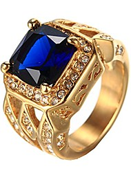 cheap -men's vintage stainless steel cubic zirconia crystal ring gold blue size 11