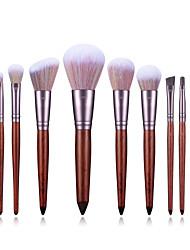 cheap -Factory direct sale 11 wooden handle makeup brush set sandalwood eye brush mixed color bristles makeup tools