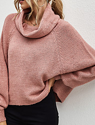 cheap -Women's Knitted Solid Color Pullover Acrylic Fibers Long Sleeve Sweater Cardigans Turtleneck Fall Blushing Pink Gray