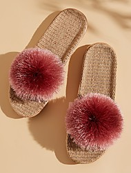 cheap -Women's Slippers & Flip-Flops Fuzzy Slippers Outdoor Slippers Beach Slippers Flat Heel Open Toe Casual Boho Home Polyester Bowknot Color Block Light Pink