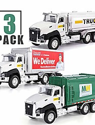 cheap -3 pack of diecast city transport vehicles, garbage truck, tanker truck, express delivery truck, 1/50 scale metal collectible model cars, pull back car toys with opening doors for boys and girls