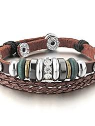 cheap -men,women's alloy genuine leather bracelet bangle cz brown adjustable tribal