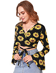 cheap -Women's Crop Top Floral Flower Sunflower Long Sleeve Lace up Print V Neck Tops Slim Basic Basic Top Black