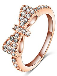 cheap -fashion 18k rose gold plated cute bow ring,engagement cz diamond for women and girls